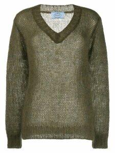 Prada mohair V-neck cable knit top - Green