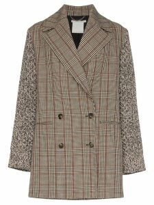 Stella McCartney double-breasted checked coat - Brown