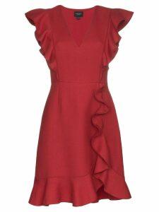 Giambattista Valli ruffle neck mini dress - Red