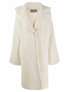 D.Exterior bouclé cocoon coat - White