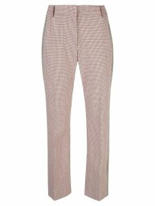 Derek Lam 10 Crosby Cropped Flare Check Trouser with Tuxedo Stripe -