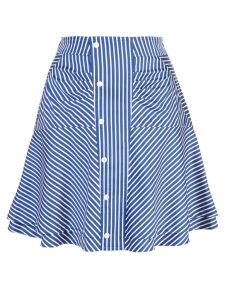 Derek Lam 10 Crosby Flared Striped Skirt with Ruching - Blue