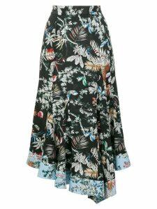 Derek Lam 10 Crosby asymmetric wallpaper floral skirt - Black