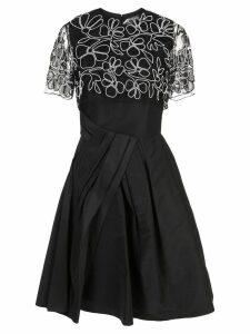 Carolina Herrera floral embroidery midi dress - Black