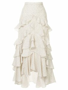 Acler Wickham frill asymmetric skirt - White