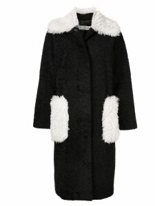 Tu es mon TRÉSOR Phoenix faux fur long coat - Black