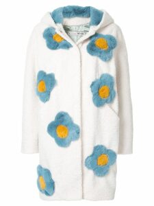 Tu es mon TRÉSOR floral embroidered coat - White