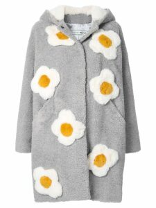 Tu es mon TRÉSOR Flower foux fur midi coat - Grey
