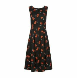 Black Storytime Floral Midi Fit and Flare Dress