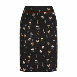 Knee Length Library Print Cotton Skirt