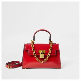 River Island Womens Red patent mini tote bag