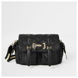 River Island Womens Black camo quilted cross body bag