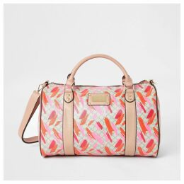 River Island Womens Pink RI printed weekend travel bag