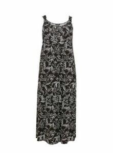 Black Printed Maxi Dress, Black