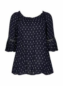Navy Blue Printed Gypsy Top, Navy