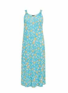 Blue Floral Print Maxi Dress, Green