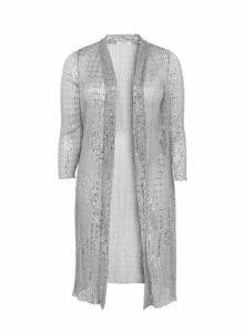 Silver Sparkle Embellished Kimono, Silver