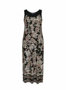 Black Paisley Print Maxi Dress, Black