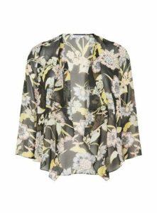 Black Floral Print Kimono, Dark Multi