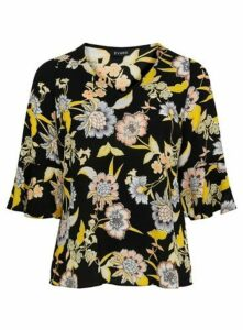 Black Floral Print Frill Sleeve Blouse, Others