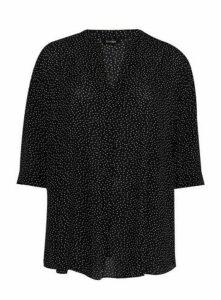 Black Polka Dot Shirt, Black/White