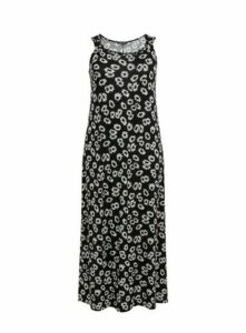 Black Daisy Print Maxi Dress, Black