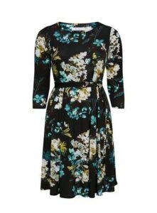 Black Floral Fit And Flare Dress, Teal