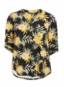 Yellow Floral Print Shirt, Dark Multi