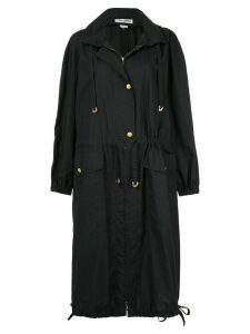 Sonia Rykiel Pre-Owned hooded drawstring midi coat - Black