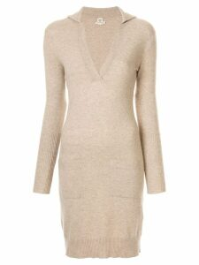Hermès Pre-Owned V-neck cashmere jumper dress - Brown