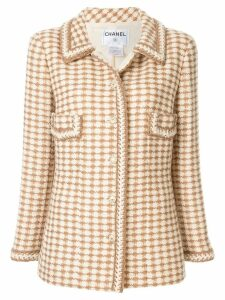 Chanel Pre-Owned woven patterned slim jacket - Neutrals