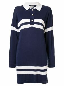Chanel Pre-Owned striped details polo dress - Blue