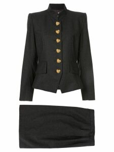 Yves Saint Laurent Pre-Owned heart buttons structured skirt suit -