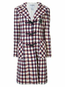 Chanel Pre-Owned checked tweed hooded coat - Red