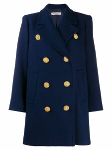 Yves Saint Laurent Pre-Owned 1980's double breasted coat - Blue
