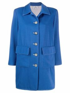 Valentino Pre-Owned 1980's button-down wool coat - Blue