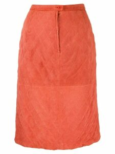 Valentino Pre-Owned 1980's diamond quilted skirt - ORANGE
