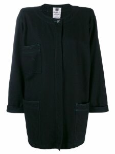 Emanuel Ungaro Pre-Owned 1980's loose collarless coat - Black