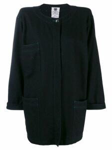 Emanuel Ungaro Pre-Owned 1980's loose collarless coat - Black