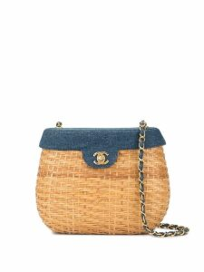 Chanel Pre-Owned Chain Basket woven shoulder bag - Brown