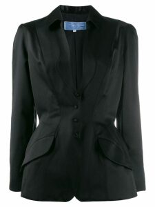 Thierry Mugler Pre-Owned 1990's plunge neck fitted blazer - Black