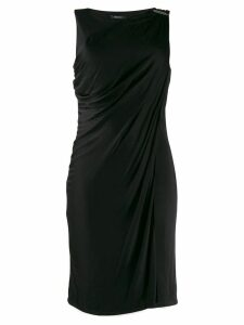 Versace Pre-Owned buckle detail draped dress - Black