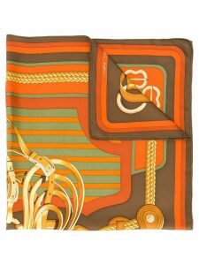 Hermès Pre-Owned 1970's harness print scarf - Orange