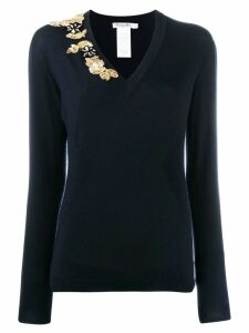 Christian Dior Pre-Owned bead embroidery slim jumper - Blue
