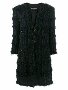 Chanel Pre-Owned woven midi coat - Black