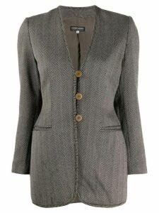 Giorgio Armani Pre-Owned 1990's herringbone pattern slim jacket - Grey