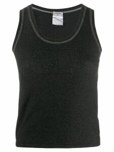 Chanel Pre-Owned 2004 logo embroidery knitted tank - Black