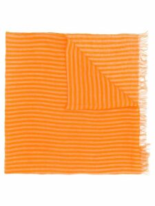 Issey Miyake Pre-Owned 1990's striped frayed scarf - Orange