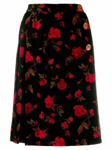 Yves Saint Laurent Pre-Owned 1980's roses print wrap skirt - Black