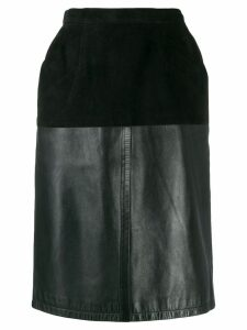 Yves Saint Laurent Pre-Owned 1980's velvet effect panel straight skirt